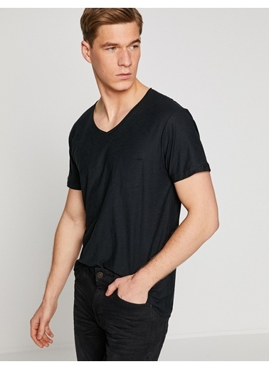 Koton V Yaka Tişört Siyah